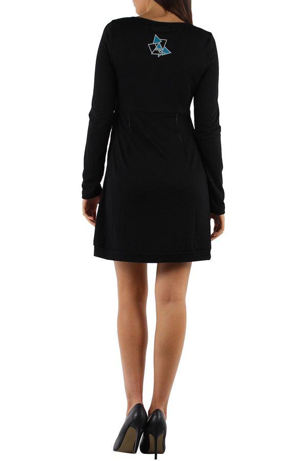 Robe noire et colorée à manches longues et imprimés bleues Julia 304375