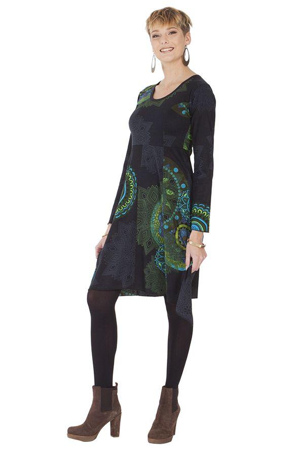 Robe Noire et Grise Asymétrique et Originale Fanny 285433