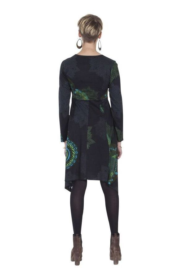Robe Noire et Grise Asymétrique et Originale Fanny 285434