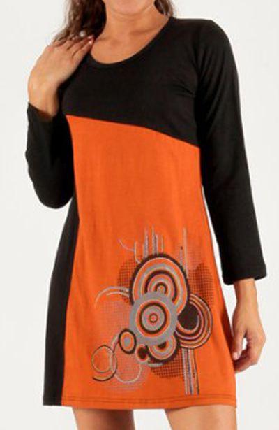 Robe Noire et Orange à manches longues Ethnique et Graphique Miva 279728