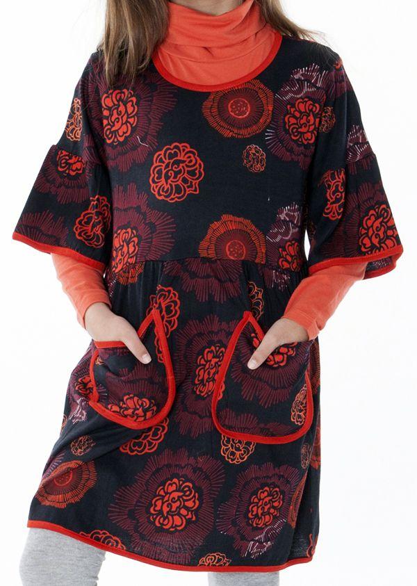 Robe noire et orange pour fille manche 3/4 évasées 287248