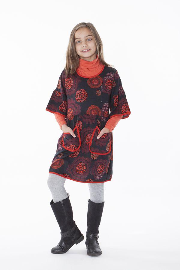 Robe noire et orange pour fille manche 3/4 évasées 287249