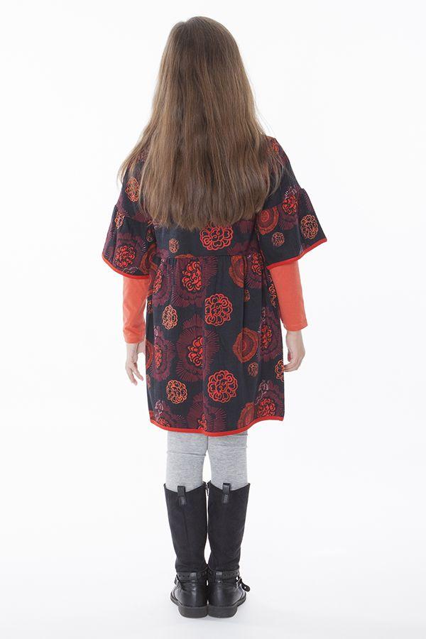 Robe noire et orange pour fille manche 3/4 évasées 287250