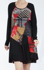 Robe noire et rouge avec des empiècements de tissus Inem 305040