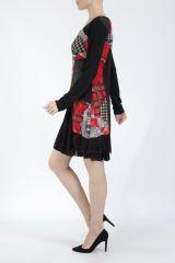 Robe noire et rouge avec des empiècements de tissus Inem 305043