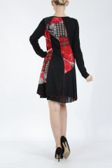 Robe noire et rouge avec des empiècements de tissus Inem 305045