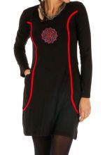Robe noire et rouge originale pour femme Miranda 312852