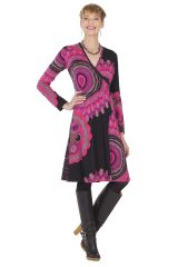 Robe Noire Ethnique et Imprimée attache Portefeuille Vanda 285473