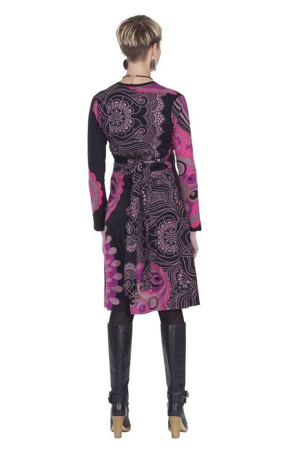 Robe Noire Ethnique et Imprimée attache Portefeuille Vanda 285474