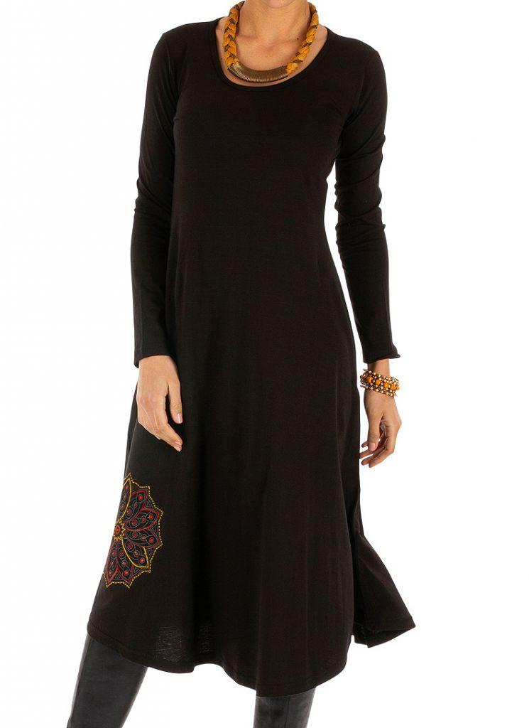 Robe noire évasée à manches longues et ethnique Alindao 313871