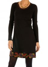 Robe noire femme courte d'hiver du Népal et brodée Kembé 313886