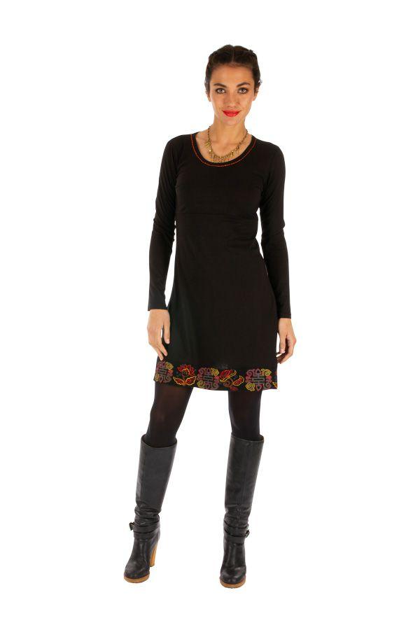 Robe noire femme courte d'hiver du Népal et brodée Kembé 313887