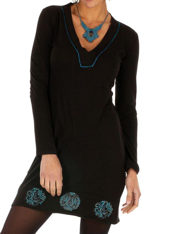 Robe noire femme de soirée chic ethnique courteMonia 313291