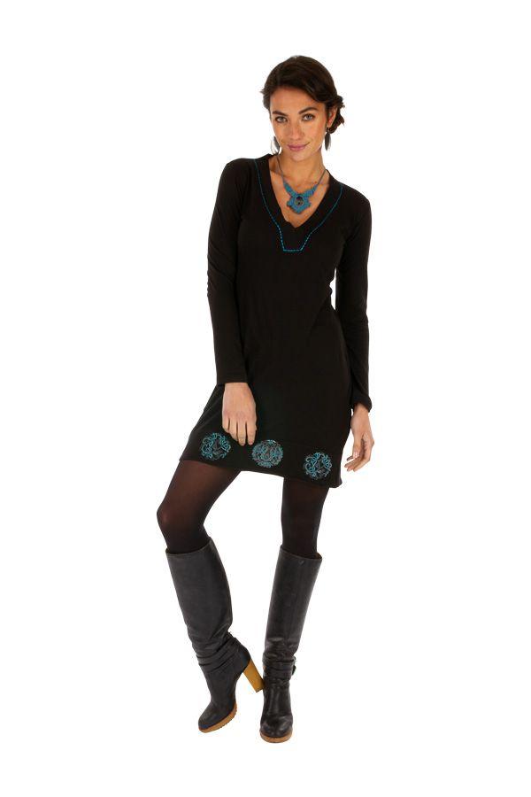 Robe noire femme de soirée chic ethnique courteMonia 313292