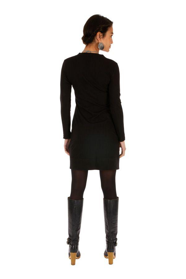 Robe noire femme de soirée chic ethnique courteMonia 313293