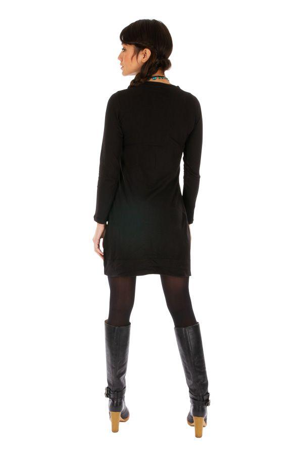 Robe noire femme tendance et chic ethnique pas cher Monia 313360