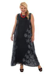 Robe noire grande taille évasée avec un col rond Daily 312627