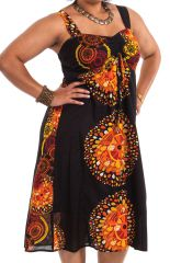 Robe Noire grande taille mi-longue Ethnique et Originale Roxane 284281