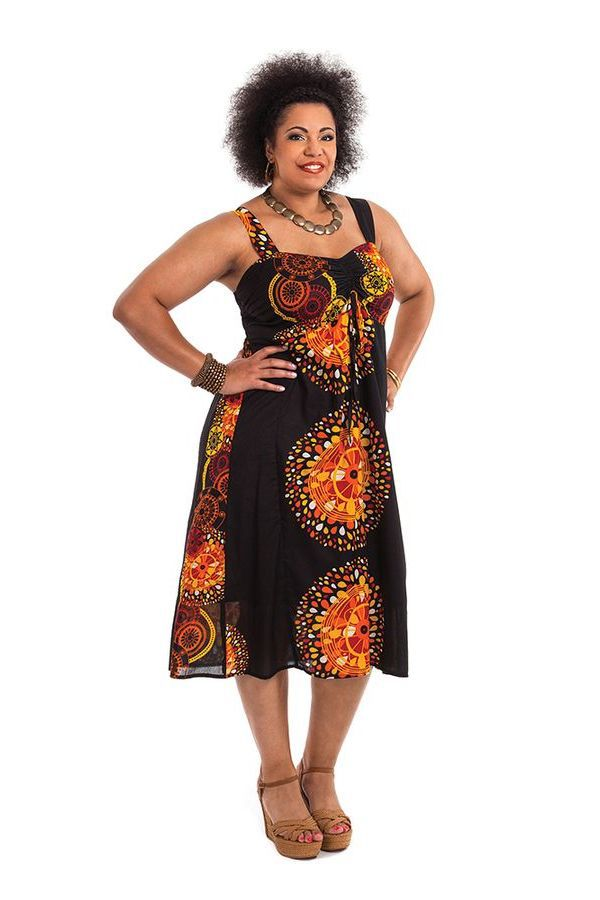 Robe Noire grande taille mi-longue Ethnique et Originale Roxane 284282