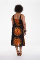 Robe Noire grande taille mi-longue Ethnique et Originale Roxane 284283