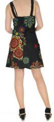 Robe noire imprimée tendance en coton d'Inde Desik 270499