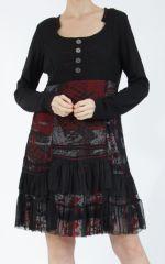 Robe noire mi-longue à manches longues originale Polah 304951