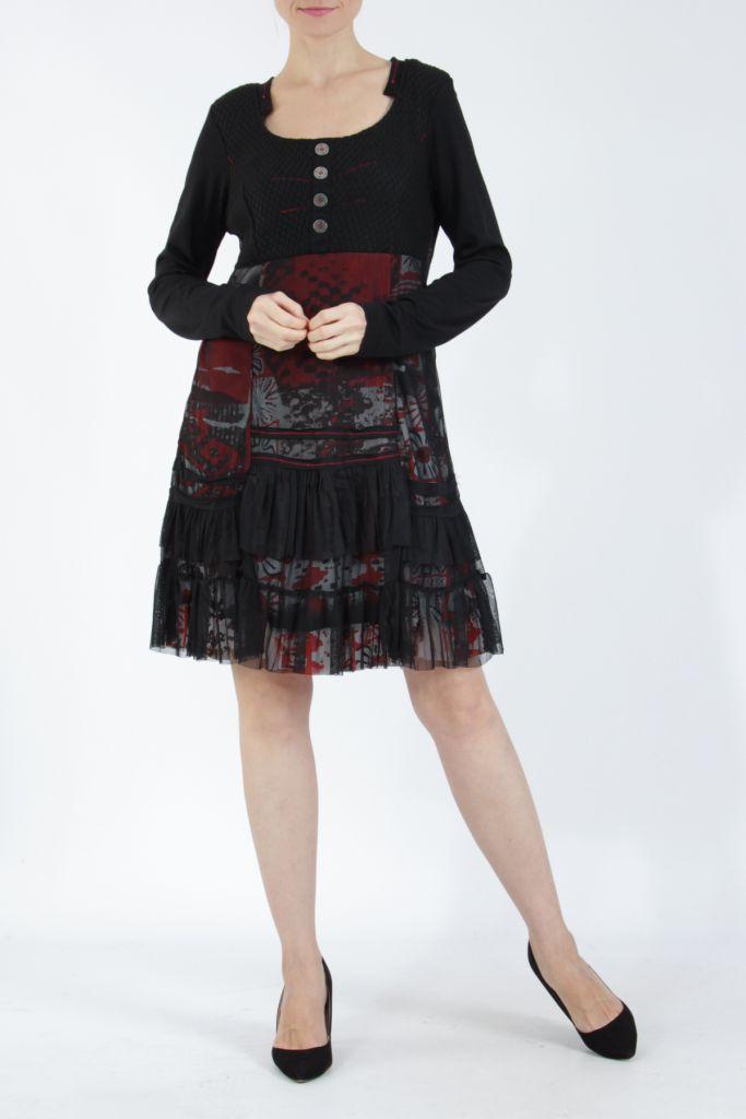 Robe noire mi-longue à manches longues originale Polah 304953