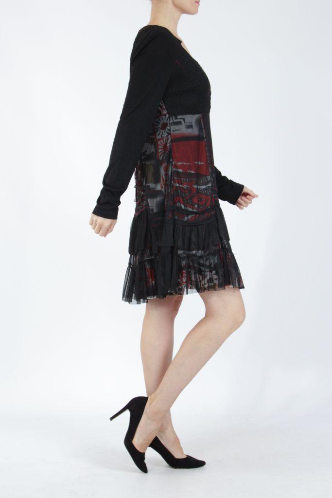 Robe noire mi-longue à manches longues originale Polah 304954