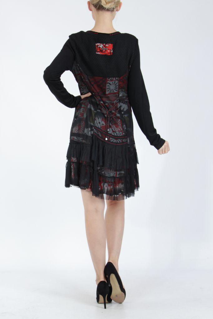 Robe noire mi-longue à manches longues originale Polah 304955
