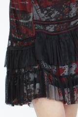 Robe noire mi-longue à manches longues originale Polah 304956