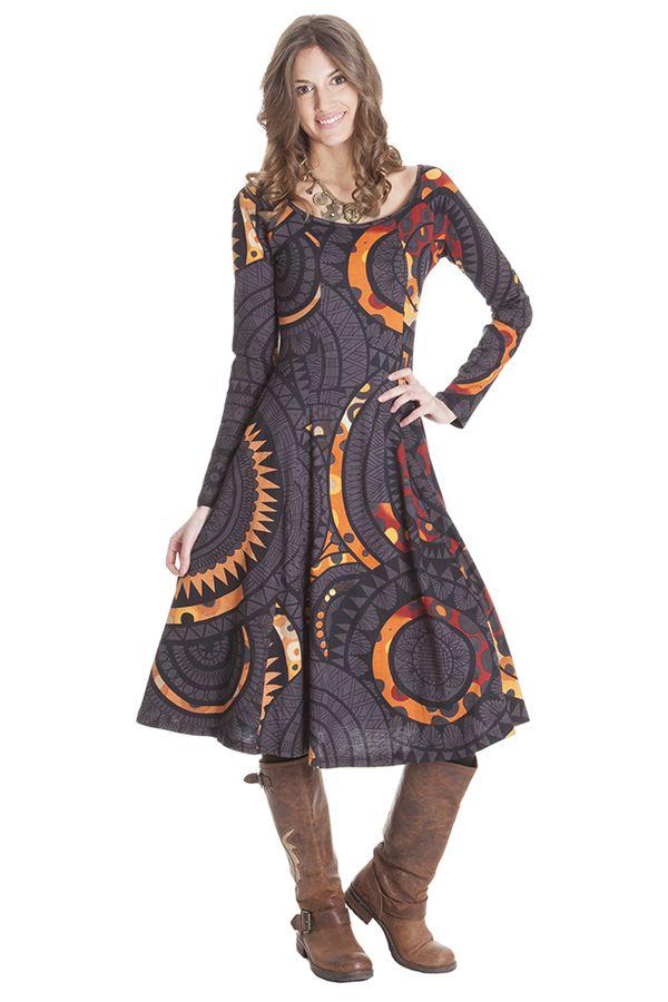 Robe noire mi longue hiver coupe évasée Naïade 285487