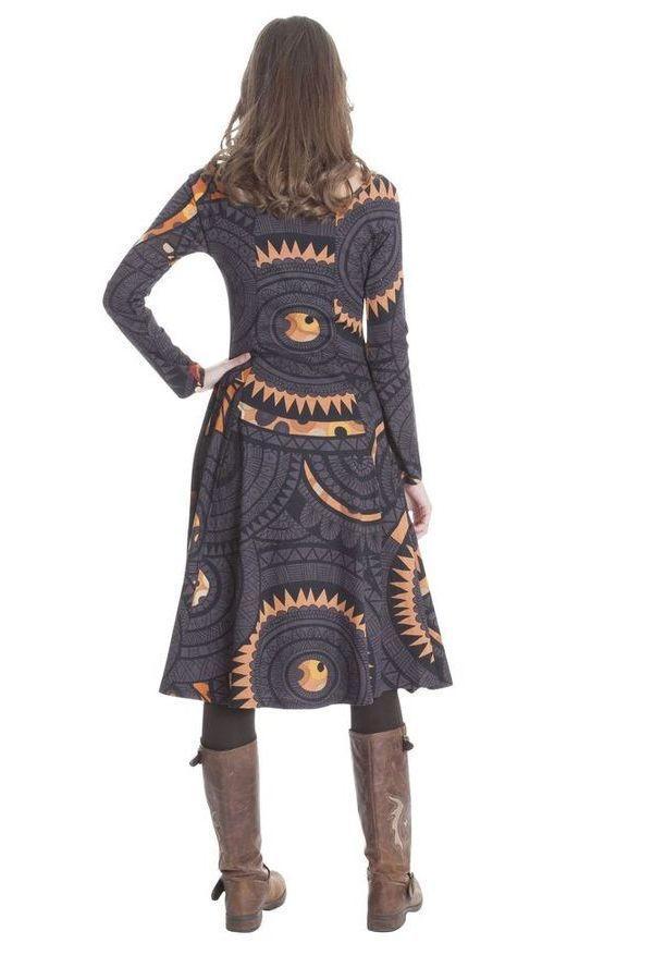 Robe noire mi longue hiver coupe évasée Naïade 285488