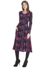 Robe Noire Mi-Longue Imprimée et Originale Neela 285458