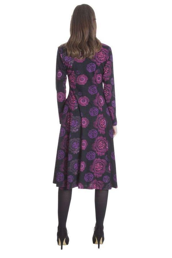 Robe Noire Mi-Longue Imprimée et Originale Neela 285459