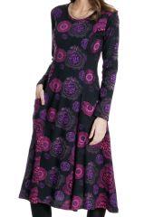 Robe Noire Mi-Longue Imprimée et Originale Neela 287338