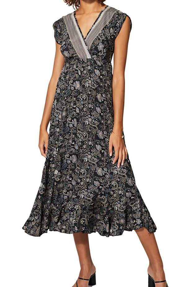 Robe noire mi-longue pour femme chic à imprimé floral Jaymie