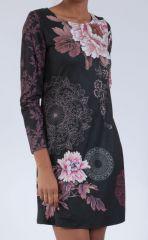Robe noire originale imprimée de fleurs d'azalée Perry 304271