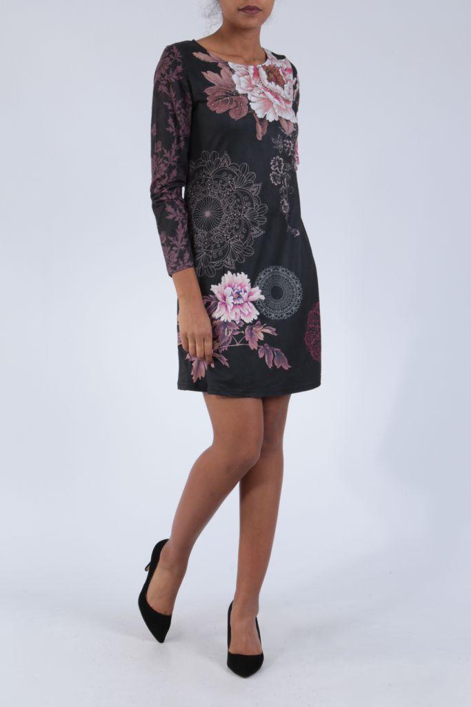 Robe noire originale imprimée de fleurs d'azalée Perry 304272