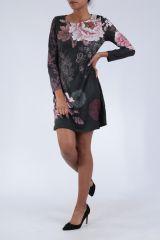 Robe noire originale imprimée de fleurs d'azalée Perry 304273