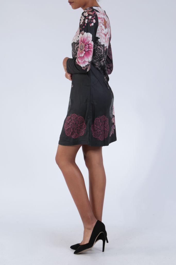 Robe noire originale imprimée de fleurs d'azalée Perry 304274