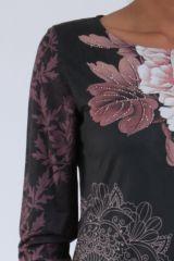 Robe noire originale imprimée de fleurs d'azalée Perry 304276