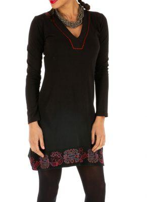 Robe Noire Pas Cher En Coton Avec Imprimes Pour Soiree Chic Monia