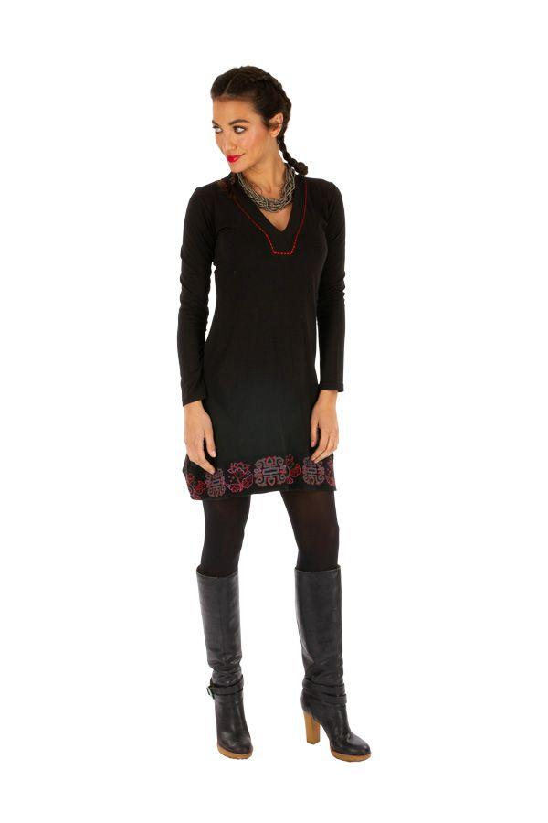 Robe noire pas cher en coton avec imprimés pour soirée chic Monia 313345