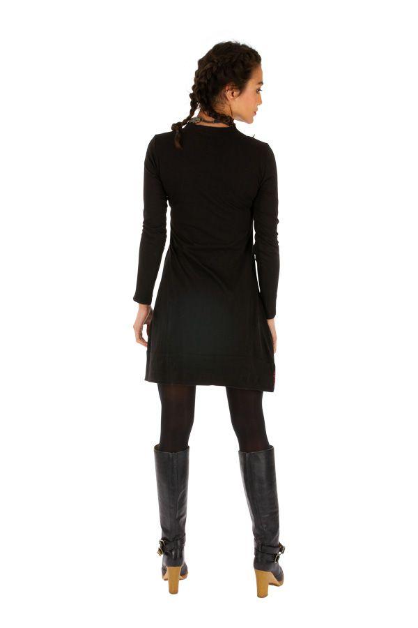 Robe noire pas cher en coton avec imprimés pour soirée chic Monia 313346