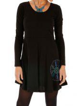 Robe noire pour femme à manches longues et col rond Nyama 313996