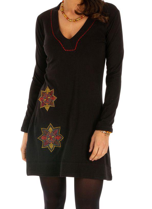 Robe noire pour femme au col en V et pas chère salsa 313847