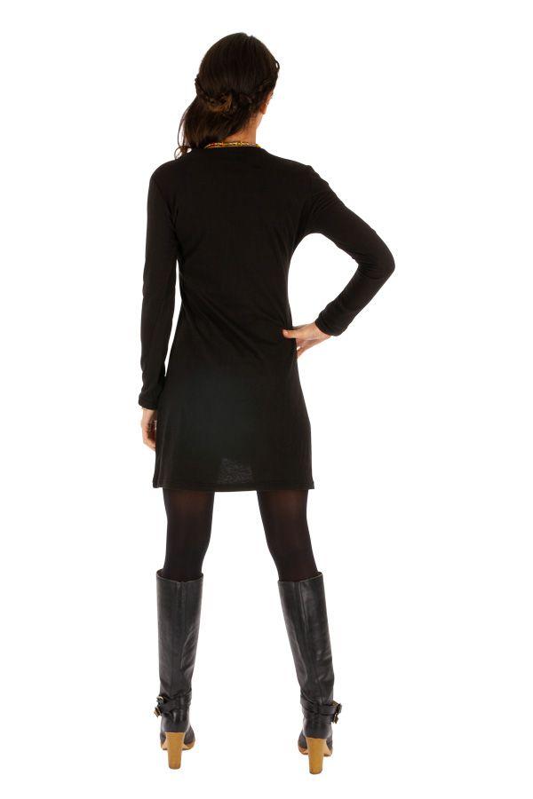 Robe noire pour femme au col en V et pas chère salsa 313849