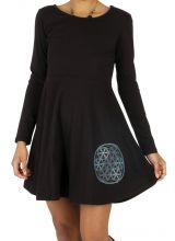 Robe noire pour femme ethnique à l'imprimé coloré Katiola 314011