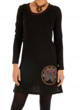 Robe noire pour femme ethnique et imprimée Duékoué 314023