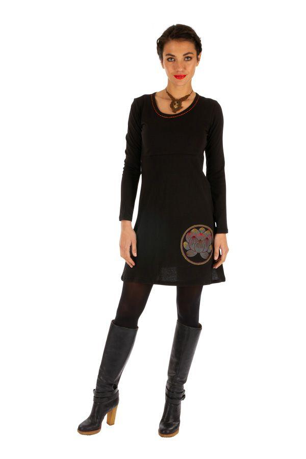 Robe noire pour femme ethnique et imprimée Duékoué 314024
